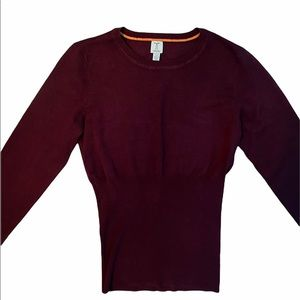 Tristan Burgundy Puff Sleeved Fitted Sweater Sz S